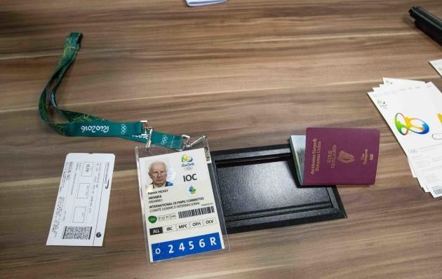 Pat Hickey's passport and accreditation