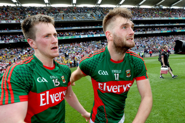 Aidan O'Shea celebrates with Cillian O'Connor