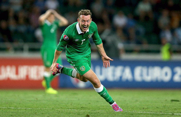 Aiden McGeady celebrates scoring his second goal of the game
