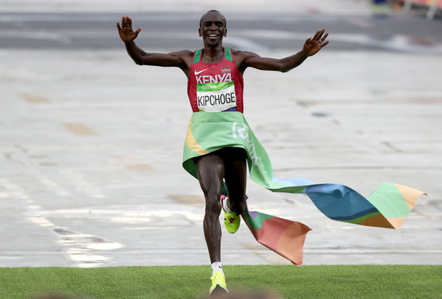 Eliud Kipchoge wins the men's marathon