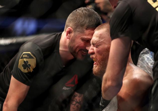 Conor McGregor with John Kavanagh between rounds