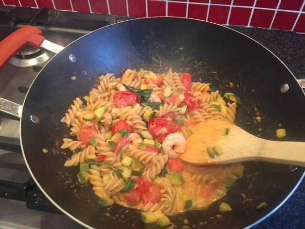 Creamy Tomato courgette and prawn pasta