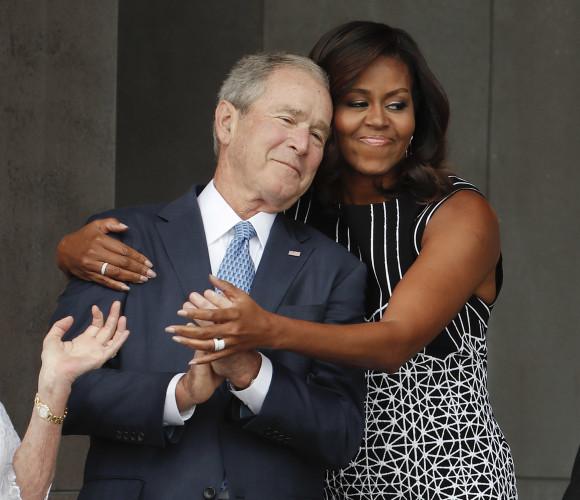 Image result for George Bush  Michelle Obama gif
