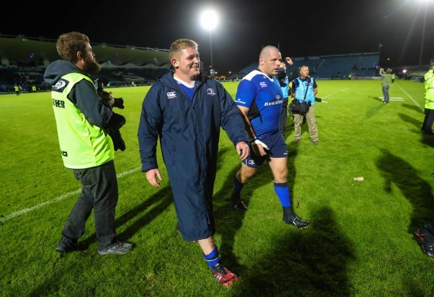 Leinster's Tadhg Furlong and Mike Ross