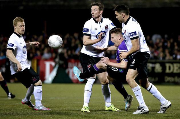 Daryl Horgan, Ronan Finn and Brian Gartland tackle Danny North