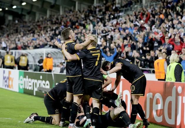 Dundalk's players celebrate Ciaran Kilduff's goal