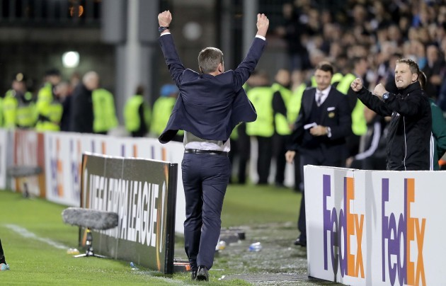 Dundalk manager Stephen Kenny celebrates the final whistle