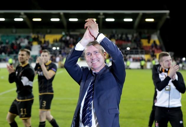 Dundalk manager Stephen Kenny celebrates after the game