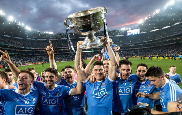 Diarmuid Connolly celebrates with the Sam Maguire
