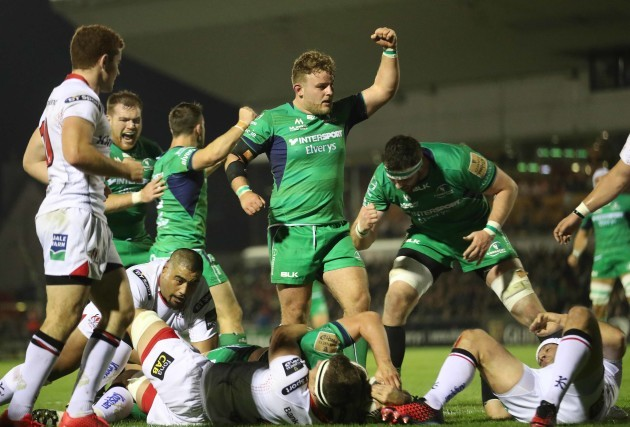 Connacht's James Connolly  scores a try