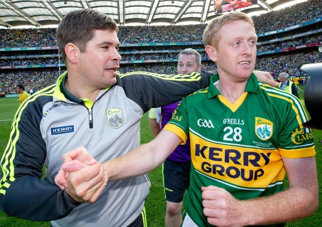 Kerry Manager Eamonn Fitzmaurice celebrates with Colm Cooper
