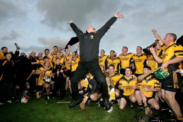 Pat Conlon celebrates with the Clonlara team