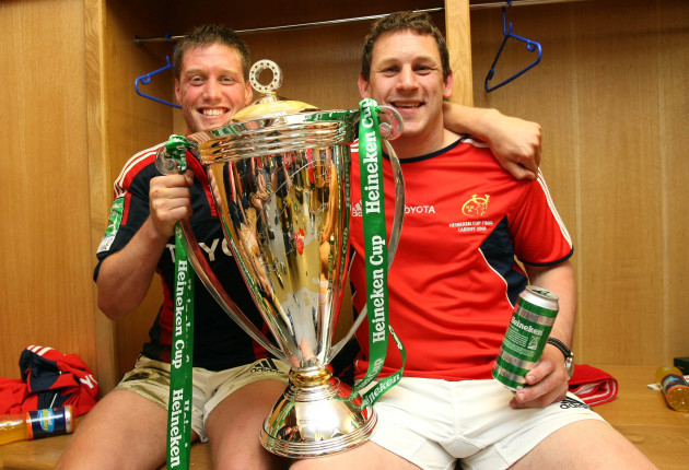 Ronan O'Gara and Jason Holland in the changing room with the Heineken Cup Trophy