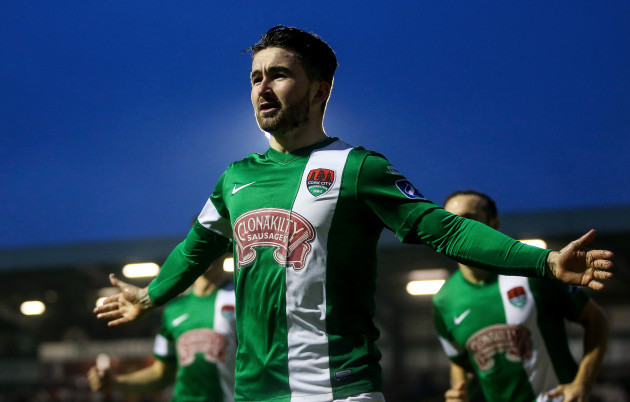 Sean Maguire celebrates scoring a goal early in the game
