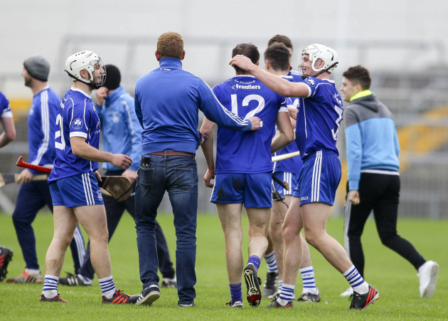 Thurles Sarsfields players celebrate at the end