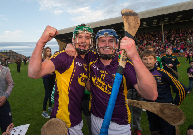 Conor McDonald and Kevin Foley celebrate after the game