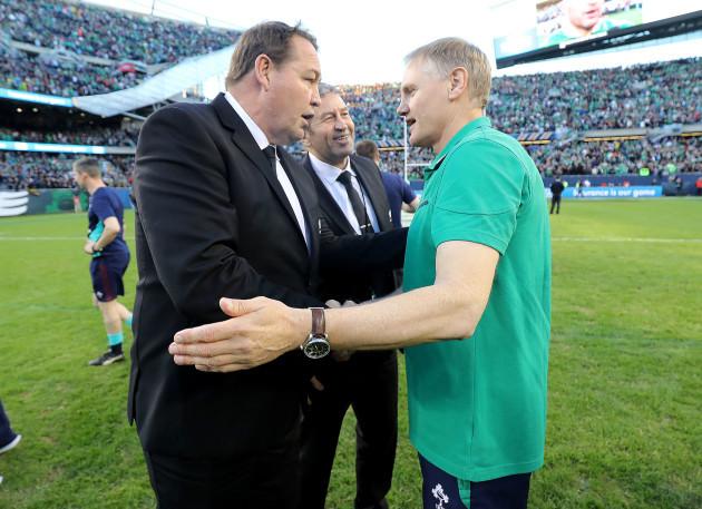 Steve Hansen congratulates Joe Schmidt after the game