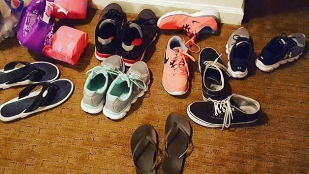 When you share a condo with 10 people shoes tend to collect in the same place. Haha #bigfamilyprobs #shoes #disneyworld2016