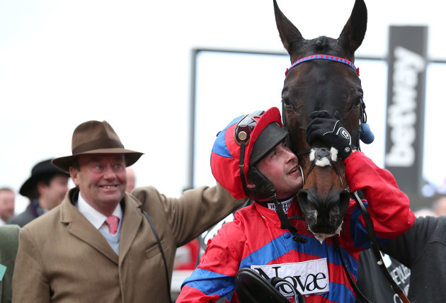Nico de Joinville celebrates winning with Sprinter Sacre and Nicky Henderson