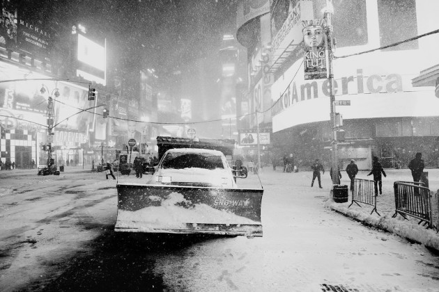 IMG_1967_BW Snow plow at Times Square - 2010 Blizz in New York