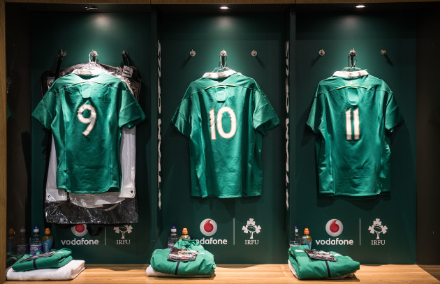 A view of the Irish dressing room ahead of the game