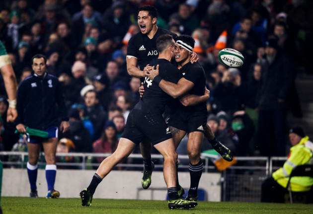 Malakai Fekitoa celebrates scoring a try with Anton Lienert-Brown and Israel Dagg  19/11//2016