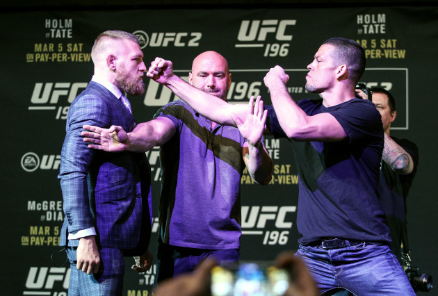 Conor McGregor and Nate Diaz are separated by UFC President Dana White