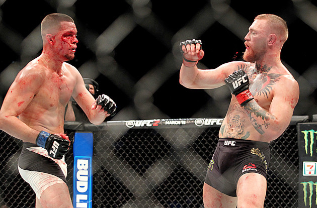 Nate Diaz in action against Conor McGregor