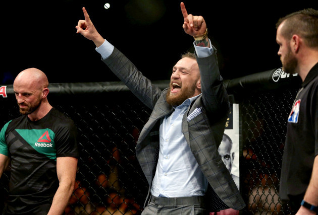 Conor McGregor celebrates Artem Lobov's victory