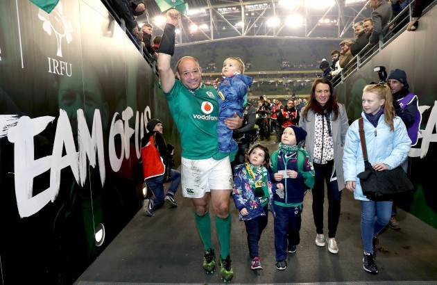 Rory Best celebrates with his family after the game