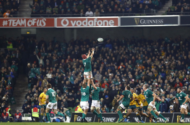 Josh Van der Flier wins a lineout late in the game
