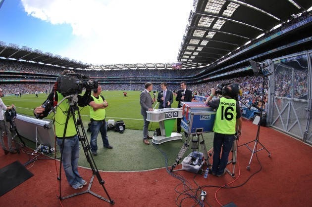 General view of TG4 broadcasting from pitchside