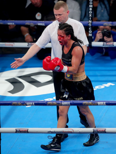 Viviane Obenauf during her fight with Katie Taylor