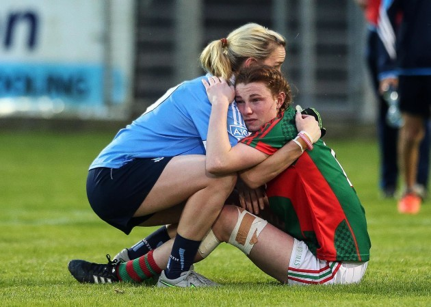 Sorcha Furlong consoles Aileen Gilroy at the end of the game
