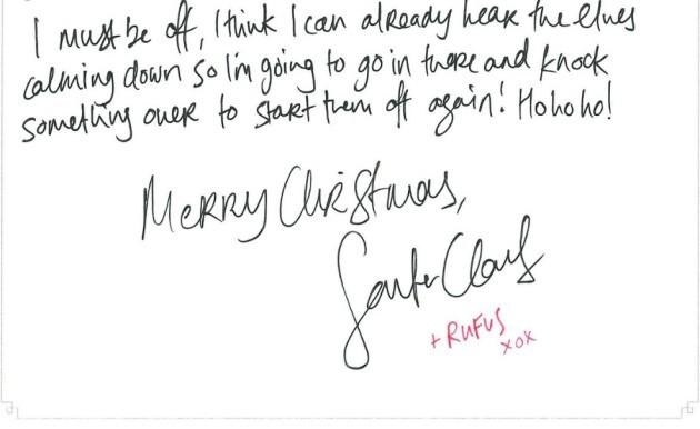 Santa handwriting