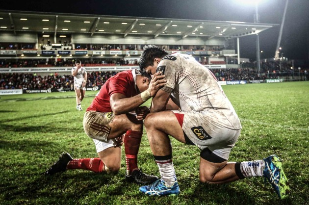 Francis Saili and Nick Williams pray at the final whistle