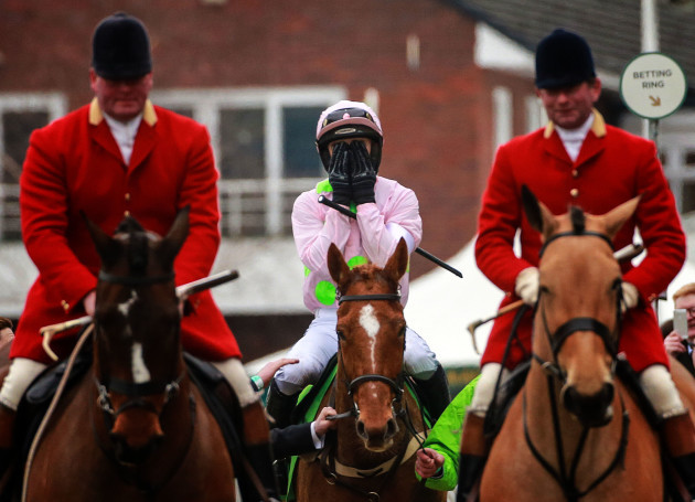 Ruby Walsh celebrates winning the Stan James Champion Hurdle on Annie Power