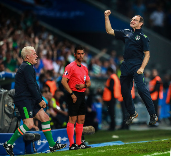 Martin O'Neill celebrates at the final whistle
