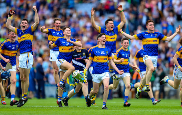 Tipperary players celebrate at the end of the game