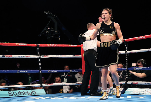 Katie Taylor celebrates her win