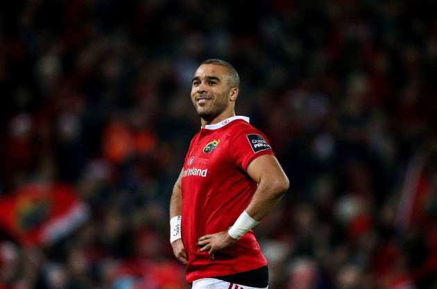 Simon Zebo smiles as he is awarded his try 26/12//2016