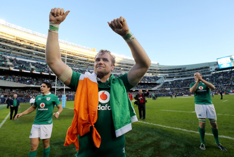 Jamie Heaslip celebrates winning
