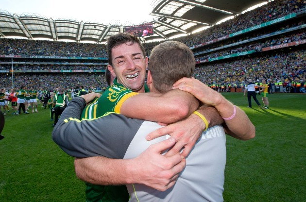 Eamonn Fitzmaurice celebrates with Declan O'Sullivan, Aidan O'Mahony and Barry John Keane