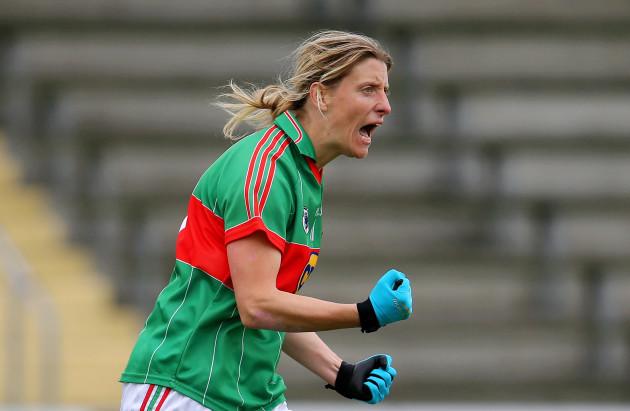 Cora Staunton celebrates scoring a goal