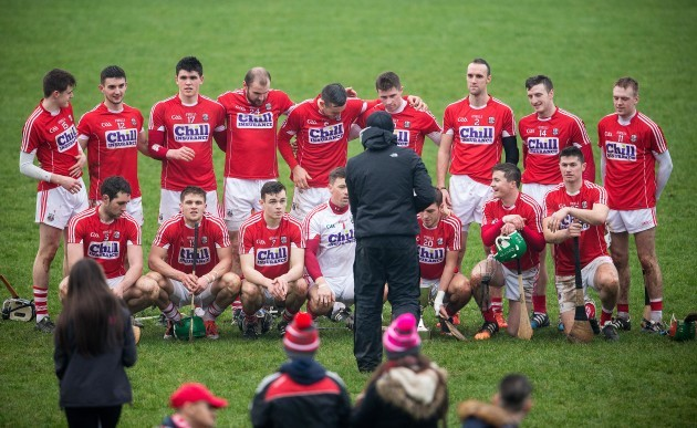 Cork players pose for a photo after the game