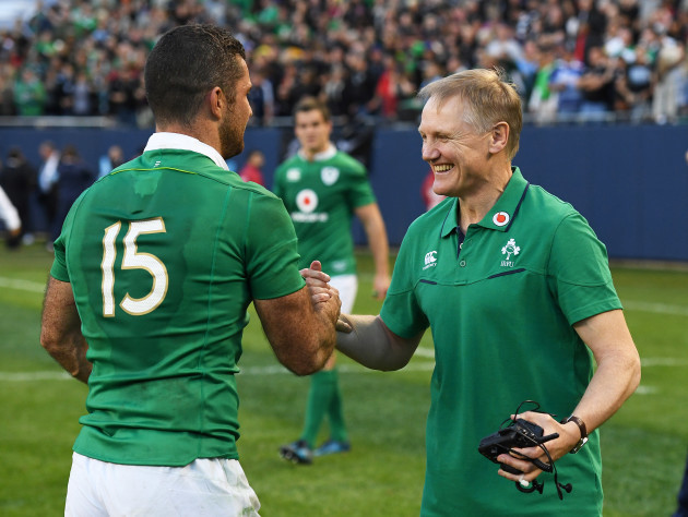Joe Schmidt celebrates winning with Rob Kearney