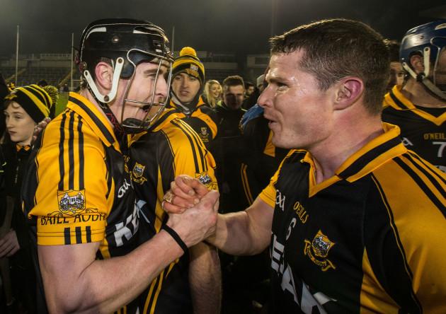 Tony Kelly celebrates with Paul Flanagan