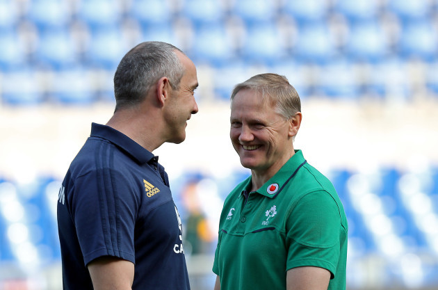 Conor O'Shea and Joe Schmidt before the game