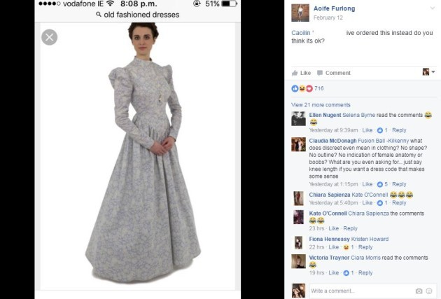 """Like Aoife here asking if this """"old-fashioned dress"""" would be suitable."""