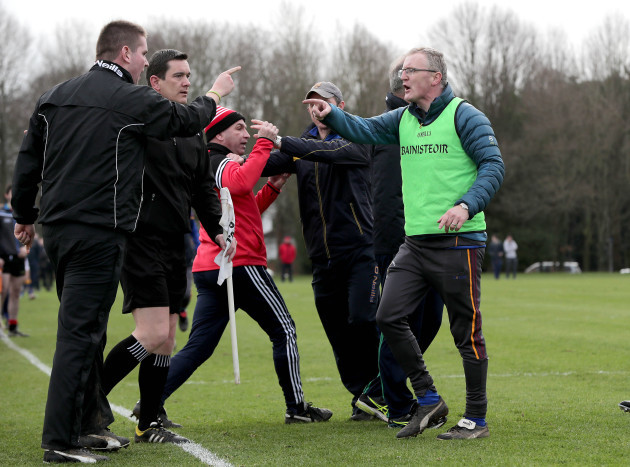 Management from both sides get involved on the sidelines